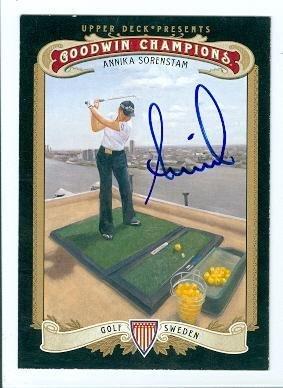 Annika Sorenstam autographed trading card (Ladies Golf Player) 2012 Upper Deck Goodwins Champions #66