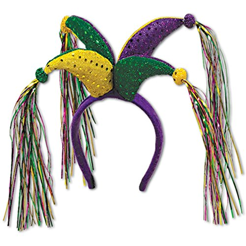 Club Pack of 12 Green Purple and Yellow Mardi Gras Jester Headband Costume Party Accessories by Party Central