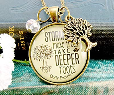 "24"" Storms Make Trees Necklace Inspired Life Quote Rustic Positive Attitude Pendant Jewelry Encourage Gift Card"