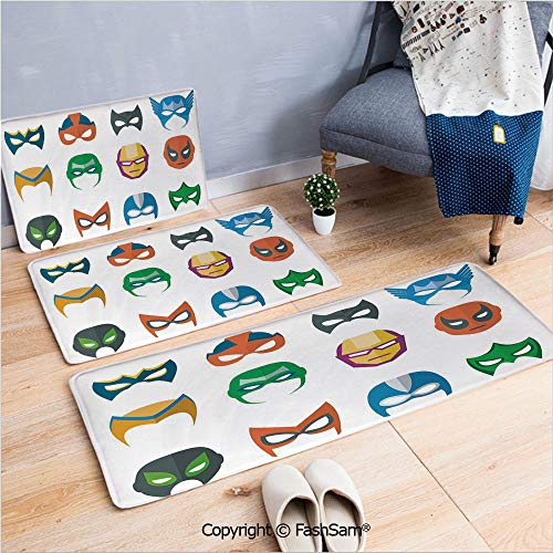 3 Piece Non Slip Flannel Door Mat Hero Mask Female Male Costume Power Justice People Fashion Icons Kids Display Indoor Carpet for Bath Kitchen(W15.7xL23.6 by W19.6xL31.5 by W19.6xL59)