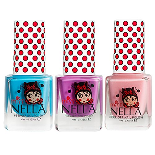 Miss Nella Mermaid Blue, Little Poppet, Cheeky Bunny Glitter Special Glitter Kids Nail Polish with Peel-off Water Based Formula by MissNella