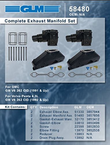 Omc Parts Exhaust (OMC VOLVO PENTA COMPLETE EXHAUST MANIFOLD SET | GLM Part Number: 58480)