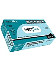 Mediflex Nisense Powder Free Blue Nitrile Gloves - Thickness 4mil, Micro Textured Fingertips, Non Sterile, Food & Safety AS/NZS Standards 4011.1:2014, EN 455, ASTM D6319, ISO 11193-1:2008 (M, Blue - 100/BX)