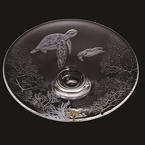 (Dartington Crystal Handmade - Turtles - Large Platter - Limited Edition Number 2 Of 10 Gallery Collection 50Th Anniversary Hand Engraved Coral Range -Ed 2 Exclusive)