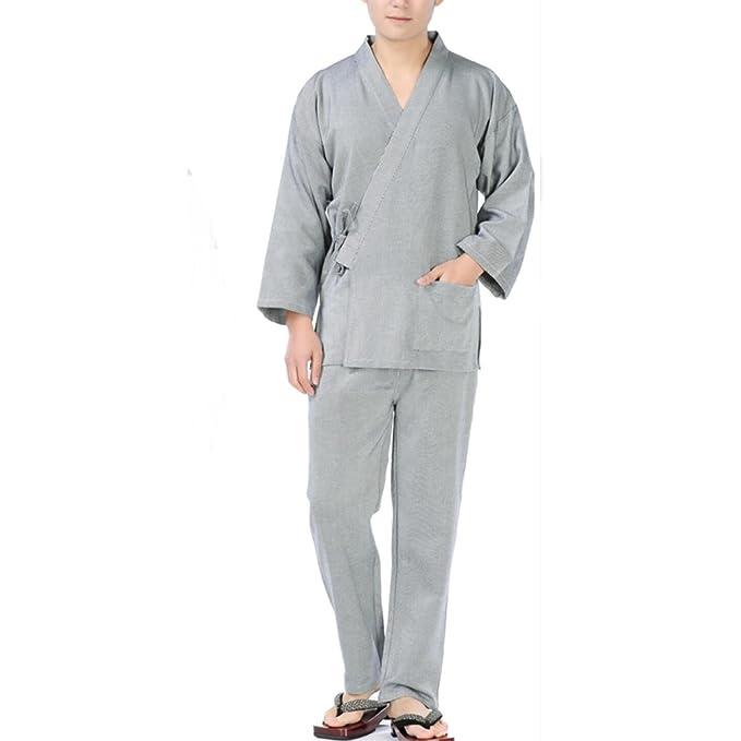 Traje de Pijama de Kimono Texturizado con Textura de Vestido de algodón Estilo japonés para Hombres japoneses- # D: Amazon.es: Ropa y accesorios