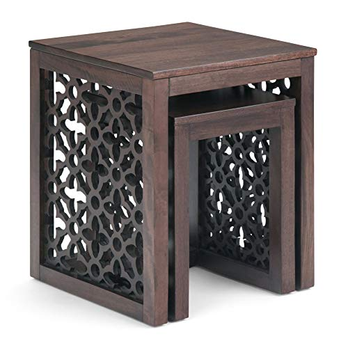 Simpli Home AXCPOL-06CN Polly Solid Mango Wood 17 inch Wide Square Rustic 2 Pc Nesting Table in Cinnamon, Fully Assembled