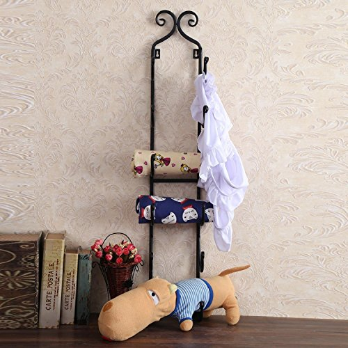 Garain Iron Wall Mounted Wine Towel Hat Rack, 6 Bottles Multi-Purpose Display by Garain (Image #1)