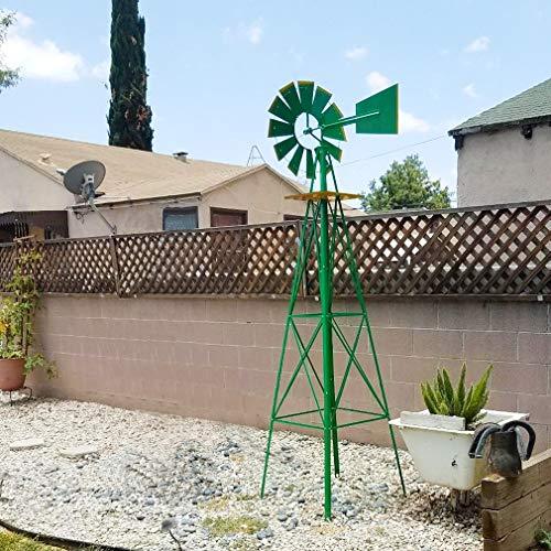 (FDW Windmill 8FT Yard Garden Metal Ornamental Wind Mill Weather Resistant Decoration for Backyard Or Lawn,Green)