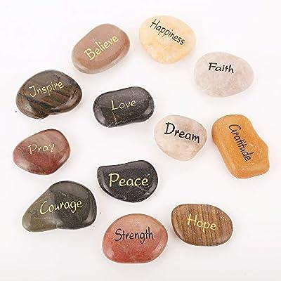 12 RockImpact Engraved Inspirational Stones, Pocket Size Highly Polished Natural River Rock, Faith Stone Bulk Lot (Set of 12, 12 Different Sayings)