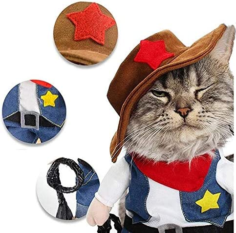 NACOCO Cowboy Dog Costume with Hat Dog Clothes Halloween Costumes for Cat and Small Dog 20