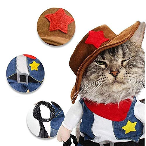Picture of NACOCO Cowboy Dog Costume with Hat Dog Clothes Halloween Costumes for Cat and Small Dog (X-Small)
