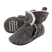 Hudson Baby Baby Cozy Sherpa Booties with Non Skid Bottom, Heather Charcoal, 0-6 Months