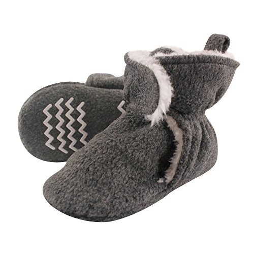 Hudson Baby Cozy Sherpa Booties with Non Skid Bottom, Heather Charcoal, 12-18 Months