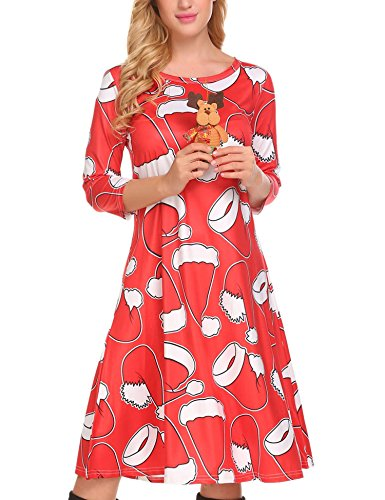HOTOUCH Women's Christmas Santa Claus Print 3/4 Pullover Flared A Line Midi Dress (Xmas Red2 L) -