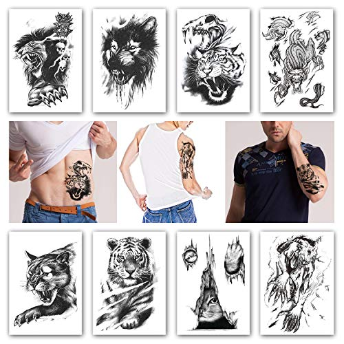 b7f9d100ae062 Kotbs 8 Sheets Temporary Tattoos Animals Tiger Skull Leopard Dragon Waterproof  Temporary Tattoo Sticker Wolf Animals