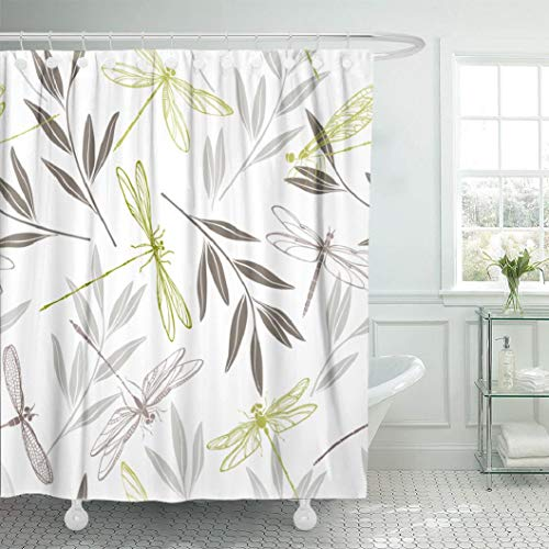 LILYMUA Dragonfly Shower Curtain,Waterproof Polyester Fabric Bathroom Shower Curtain, Dragonflies and Twigs Elegant Insect Fashion Beautiful Colorful Art Print 72X78 Inch Bathroom Decor Curtains (Gray Shower And Curtain Green)
