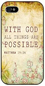 With god all things are possible - Matthew 19:26 - Bible verse iPhone 5C black plastic case