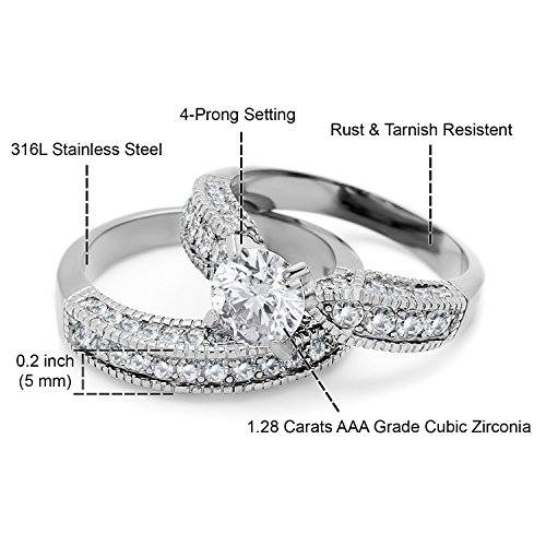 Bellux Style Women's 2-Piece Classic Wedding Engagement Rings Stainless Steel 2.3 Carats Cubic Zirconia Anniversary Promise Ring Band CZ Bridal Set for Her Size 8 + Sterling Silver Earrings by Bellux Style (Image #1)