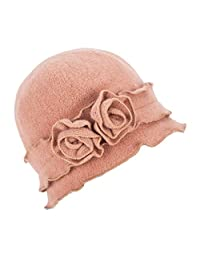 Lawliet Womens Gatsby 1920s Winter Wool Cap Beret Beanie Crochet Bucket Flower Hat A285