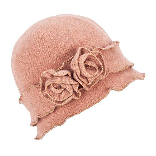 - Womens Gatsby 1920s Winter Wool Cap Beret Beanie Crochet Bucket Flower Hat A285 (Camel)