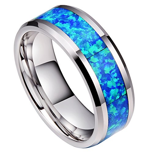 DOUX 8mm Mens White Tungsten Carbide Ring Blue Opal Inlay Wedding Band Comfort Fit High Polished(9.5) (Opal Inlay Ring)
