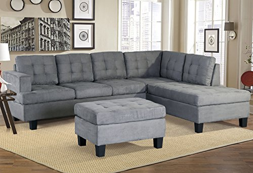 Merax Sofa 3-piece Sectional Sofa with Chaise and Ottoman Living Room Furniture,Grey (Grey)