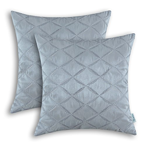 Pack of 2 CaliTime Cushion Covers Throw Pillow Cases Shells for Home Sofa Couch, Diamonds Chain Geometric Embroidered 18 X 18 Inches Gray