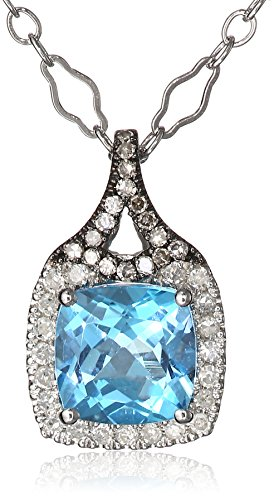 Badgley Mischka Fine Jewelry White and Champagne Diamonds (0.15 cttw, H-I Color, SI1-SI2 Clarity) Cushion-Cut Blue Topaz Pendant Necklace