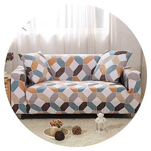 Elastic Slipcovers Sofa Universal Sofa Cover Cotton Stretch Sectional Couch Corner Cover Sofa Cover for Living Room Pets 1PC,Color 20,Cushion Cover 2pcs ()