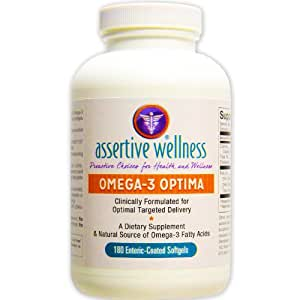 """Omega-3 Optima 180 Softgels - Best Natural Source of EPA & DHA Fatty Acids - Clinically Formulated for Optimal Delivery – Enteric """"Smart"""" Coated for 3X Higher Absorption – NO Fish-Burp – Mercury Free"""