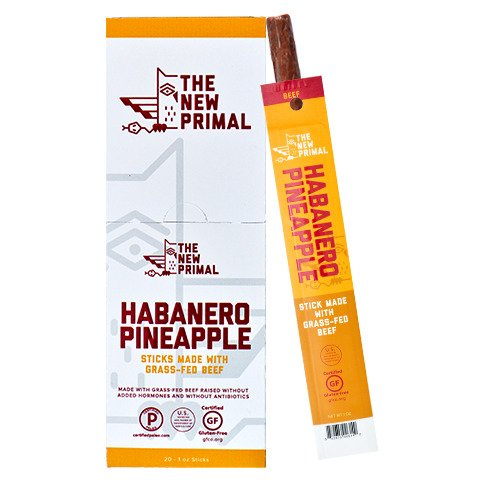 The New Primal – 100% Grass-Fed Beef Stick, Habanero Pineapple, Pack of 20 - Habanero Beef