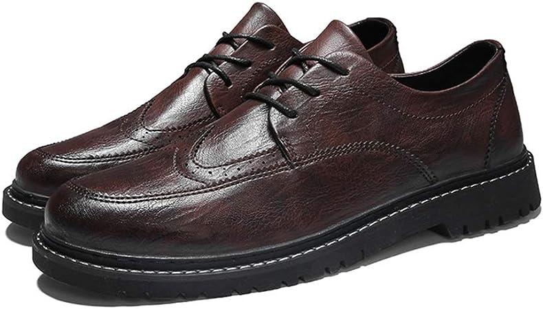 Jingkeke Zapatos Oxford Casual Brogue for Hombre Zapatos de Derby Mocasines con Cordones de Punta Redonda Zapatos Derby de Síntesis Cuero Estilo Retro Tacón Plano Llamativo Moda: Amazon.es: Hogar