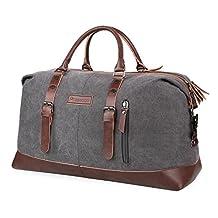 PRASACCO Canvas Tote Bag Leather Oversized Travel Duffel Bags Unisex Large Weekend Overnight Shoulder HandBag for Women Men, Gray