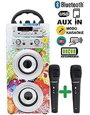 Dynasonic - Bluetooth portable karaoke speaker 10W, 1 microphone included, FM radio, USB/SD player - Model 025, blue color