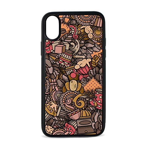 iPhone Cafe Project Almond Caramel Coconut Hazelnut Raspberry Design Digital Print TPU Pc Pearl Plate Cover Phone Hard Case Accessories Compatible with Protective Apple Iphonex/xs Case 5.8 Inch ()