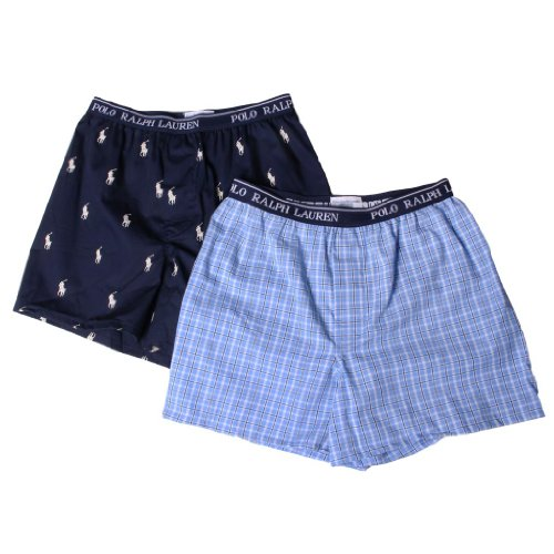 Polo Ralph Lauren Kids/Boys 2 Pack Woven Boxers M Cannes Plaid/Cruise Navy
