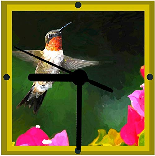 (Hummingbird Art Clock, Bird Lover Gift, From Original Art, 2 Choices Available, Desk Clock, Wall Clock, Includes Stand Quiet Quartz)