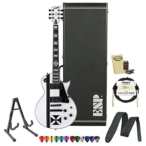 ESP LTD-IRON-CROSS-SW-KIT-1 James Hetfield Signature Iron Cross Graphic and Snow White Finish Electric Guitar with Accessories and ESP Hard Case (30th Anniversary Electric Guitar)