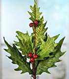 Factory Direct Craft Group of 4 Wintry Green Velour Holly Leaf and Red Glitter Berry Embellishing Picks for Arranging, Decorating and Displaying