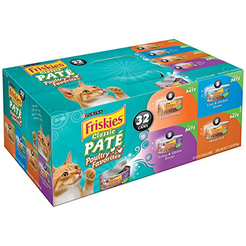 Purina Friskies Wet Cat Food, Classic Pate Poultry Favorites Variety Pack, 5.5 oz Cans (32 cans - Pack of 5) by Purina Friskies