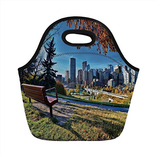 (Lunch Bag Portable Bento,City,Park Bench Overlooking the Skyline of Calgary Alberta During Autumn Tranquil Urban,Multicolor,for Kids Adult Thermal Insulated Tote Bags)