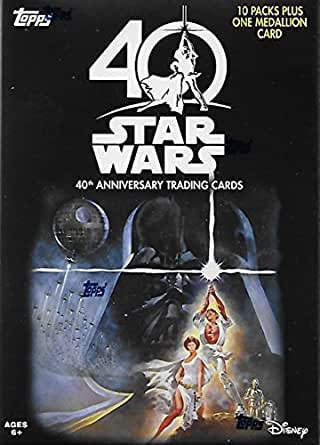 2017 Topps Star Wars from Disney 40th Anniversary EXCLUSIVE Factory Sealed Retail Blaster Box of Packs with a BONUS MEDALLION Card plus Inserts, Parallel Cards and Possible Autographs