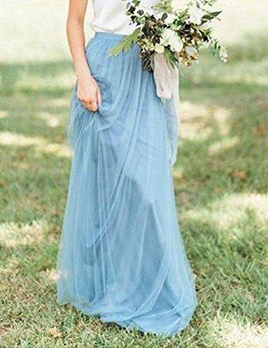 Femmes Cdress De Tulle Une Ligne Jupes Longueur De Plancher Pour Des Robes Formelles De Bal De Demoiselle D'honneur Ocean_blue