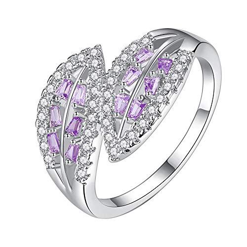 n Simple Fashion Jewelry Tree Tender Leaf Zircon Ring Jewelry Sterling Silver Rings ()