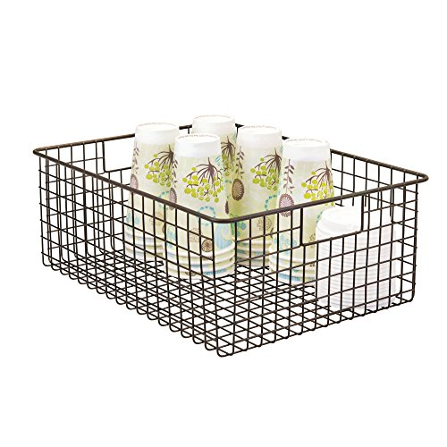 mDesign Wire Organizing Storage Basket with Built-In Handles - 16'' x 12'' x 6'', Bronze by mDesign (Image #1)