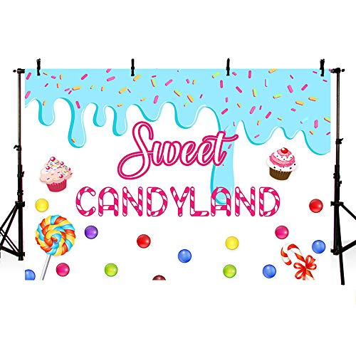 (MEHOFOTO Sweet Candyland Themed Photo Studio Background Girl Birthday Princess Baby Shower Candy Party Decorations Banner Photography Backdrops for Cake Table)