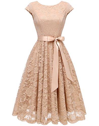 BeryLove Women's Floral Lace Short Bridesmaid Dress Cap Sleeve Cocktail Party Dress BLP7016Champagne -