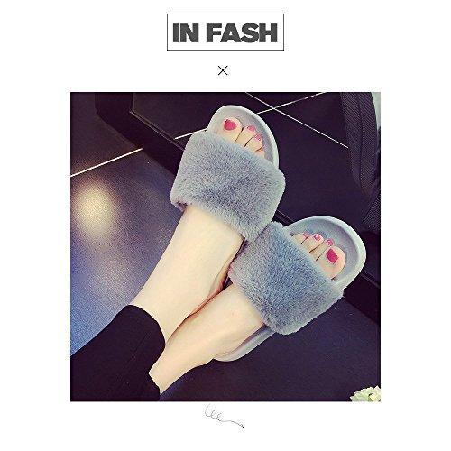 COFACE Women's Slippers Soft Slide Flat Sandals with Warm Fluffy Faux Fur Flip Flop Outdoor/Indoor Grey tJeAkiejO