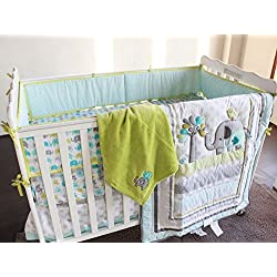 New Baby Safari Elephant 4pcs Crib Bedding Set Green