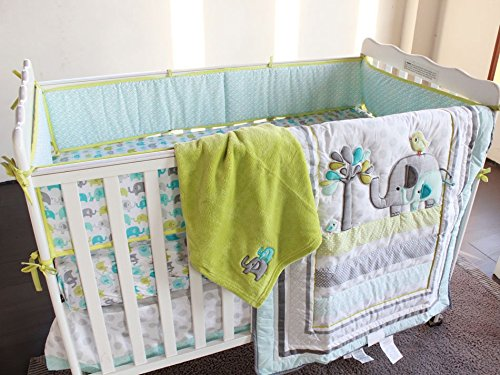 New Baby Safari Elephant 4pcs Crib Bedding Set (without bumper),1) quilt,1)sheet,1)fleece blanket,1)dust ruffle (Baby Crib Bedding Sets Elephant)